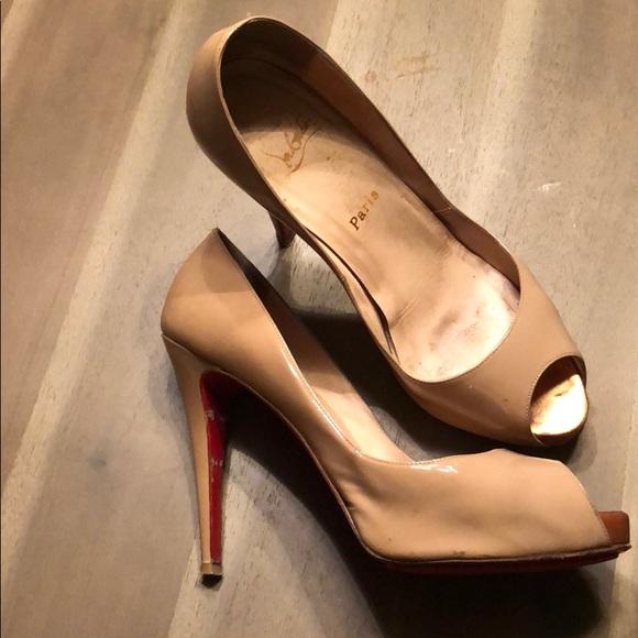 5717ce9b012 Christian Louboutin Shoes - Christian Louboutin nude patent peep toe